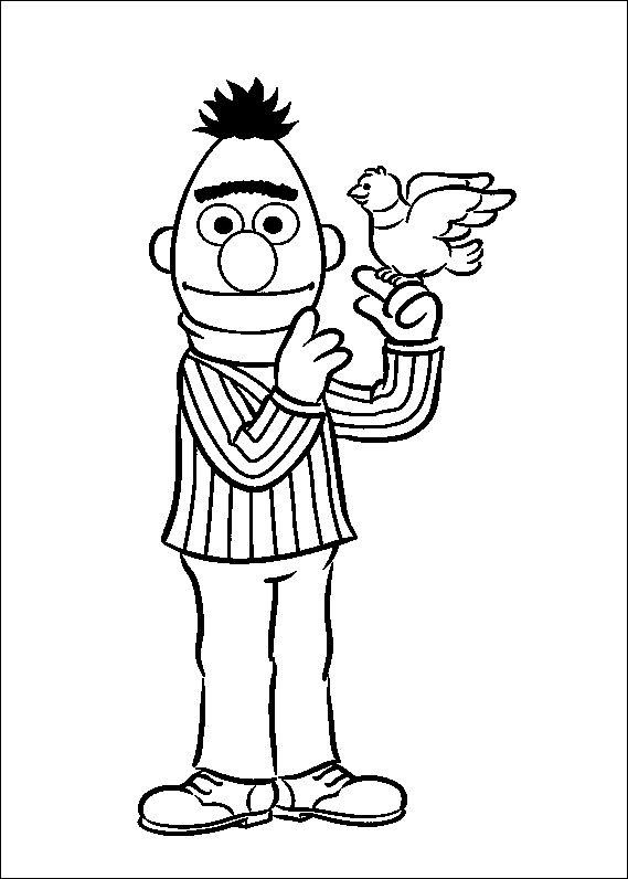 Bert Sesame Street And Birds Sesame Street Coloring Pages