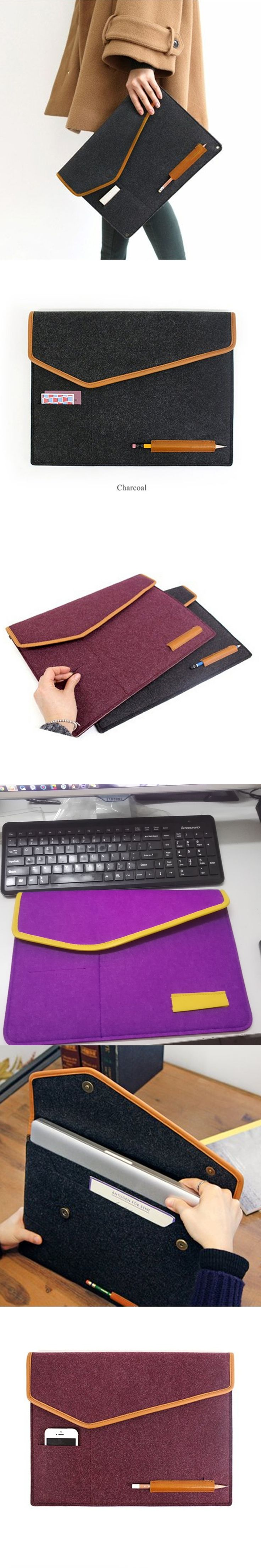 Wool Felt Envelope Cover 12 13 14 Inch Protective Laptop Bag Sleeve Case for Apple Macbook Air Pro Retina 11.6 13.3 Notebook Bag