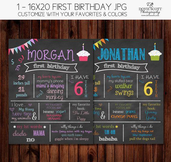 SALE- 1 Year Birthday Chalkboard of Favorite Things Poster - Cupcake 16x20 First Birthday Chalkboard