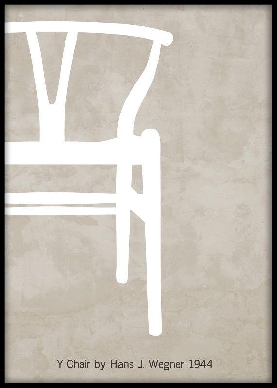 """Poster med den klassiska Y-stolen, """"Y chair"""" av Hans J Wegner. Grafisk affisch med wishbone chair. Plansch med beige ton samt svart och vit. Tavlor till modern inredning."""
