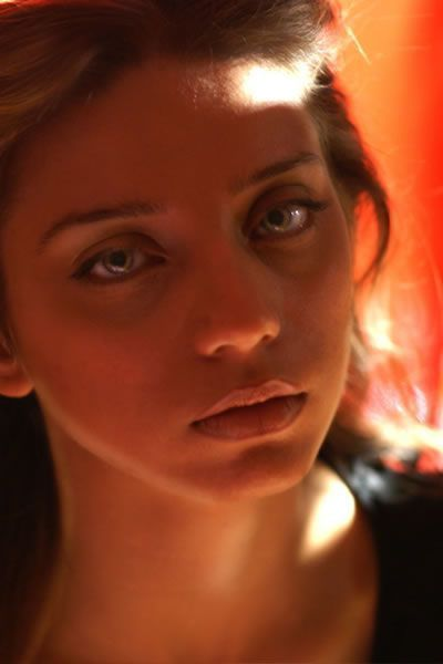 Angela Sarafyan Woman Profile Red Background Low Light