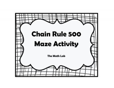 Chain Rule Maze from The Math Lab on TeachersNotebook.com -  (3 pages)  - Need an activity to liven up your Calculus class? The Chain Rule 500 Maze is for you! This activity is great for small groups or individual practice. Students will get to test their knowledge of the Chain Rule by identifying their race car's path to
