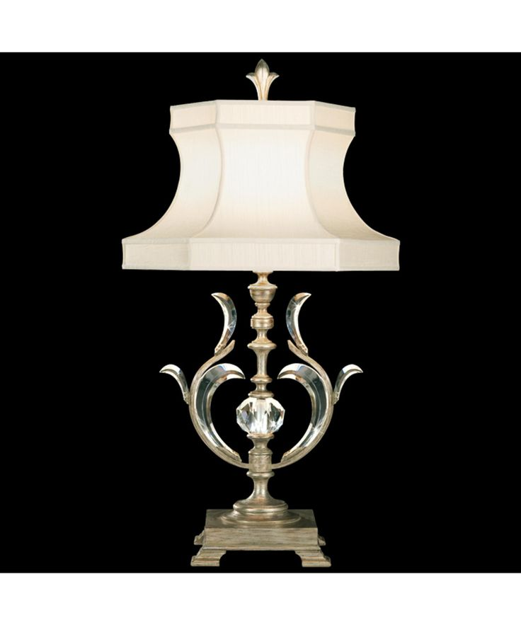 Traditional Table Lamps For Living Room Part - 43: Fine Art Lamps 1 Light Beveled Arcs Table Lamp In Warm Muted Silver Leaf