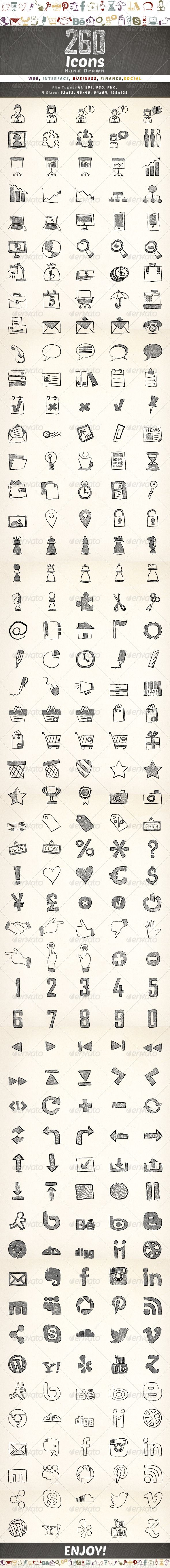 260 Hand Drawn Icons