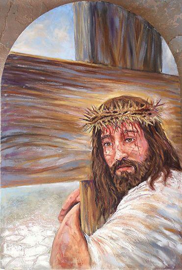 "Station 2- ""Jesus takes up his cross"" by Randy Friemel Oil ~ 24 x 16"