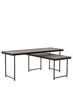 Ellos Home Milano-sohvapöydät, mustilla metallijaloilla 2/pakk.