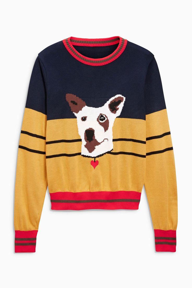 Серый свитер с цветными вставками и изображением собаки - Покупайте прямо сейчас…