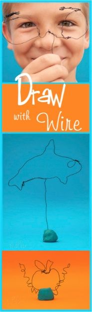 Draw with Wire!  a fun simple activity to do with your kiddos this summer.   #draw #kidscrafts #summerfun