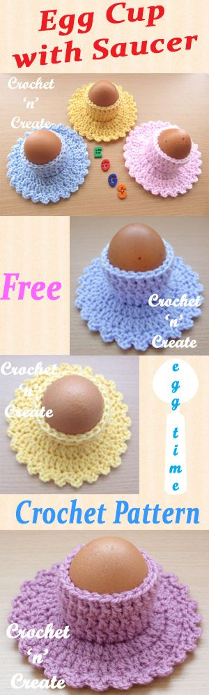 Brighten up your breakfast table with this free crochet pattern for egg cup-saucer. #crochet