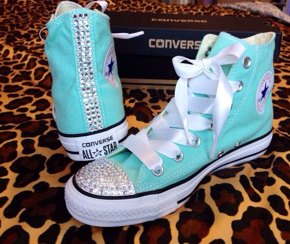 SALE Tiffany Blue Converse High Top with Rhinestones and Ribbon Shoelaces Women Size 8 by ConverseCustomized on Etsy https://www.etsy.com/listing/194930811/sale-tiffany-blue-converse-high-top-with