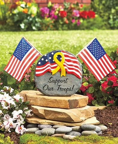 military garden stone removable flags ceramic tribute memorial yard decor