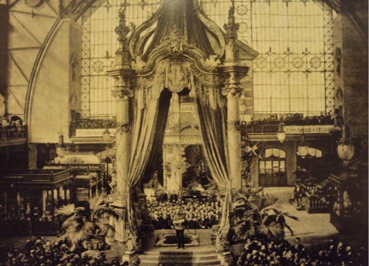 Emperor Franz Joseph I. speaking at the Prague Exhibition Ground Holesovice (1891)
