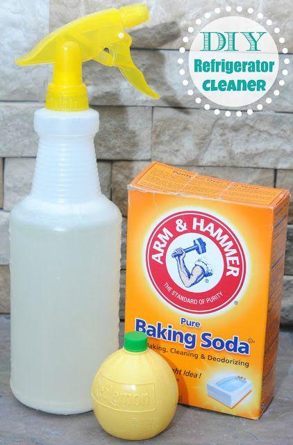 fridge cleaner:  2 teaspoons lemon juice, 1/2 cup baking soda, and 4 cups warm water