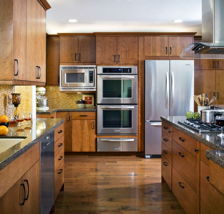 Kitchen French Door Refrigerator Also Laminate Floor Feat Elegant Wooden  Cabinets With Double Oven With Warmer Part 54