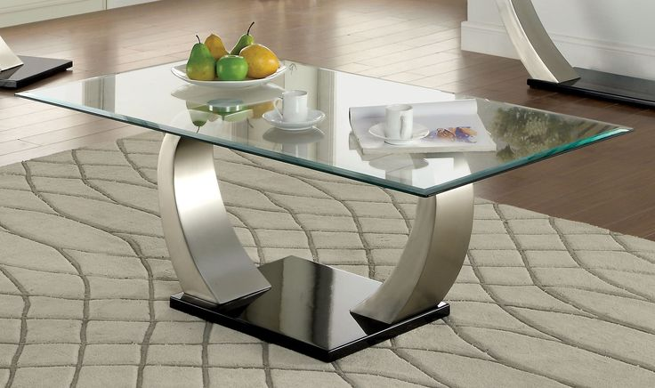Garrett Contemporary Coffee Table with Satin Plating