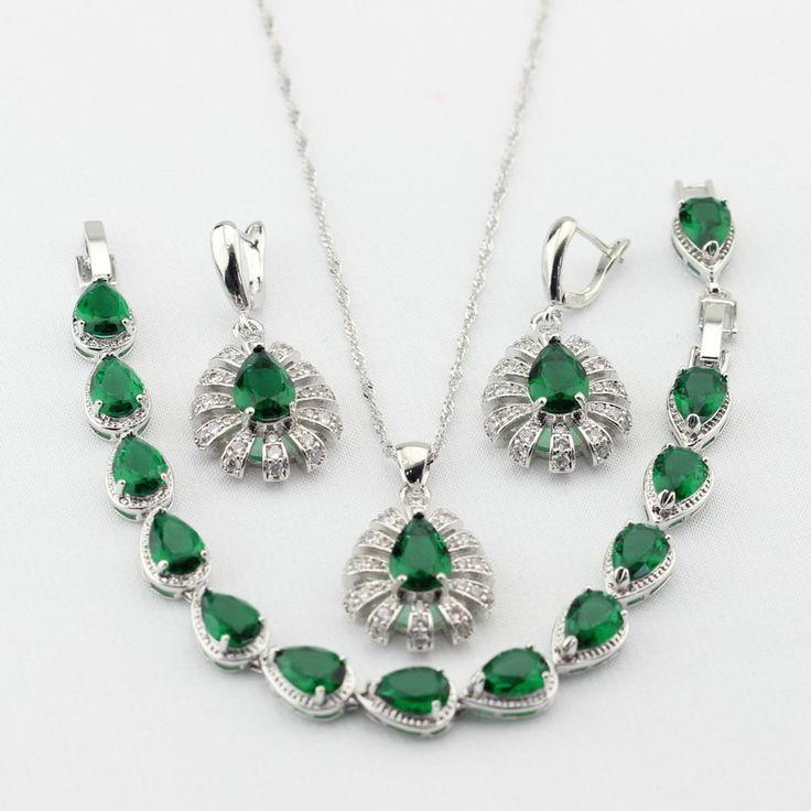 Серебряный Цвет Tear Drop Зеленый Создания Изумрудный Ожерелье Серьги браслет Женщин Ювелирные Наборы Танец Рождественские Подарки(China (Mainland))
