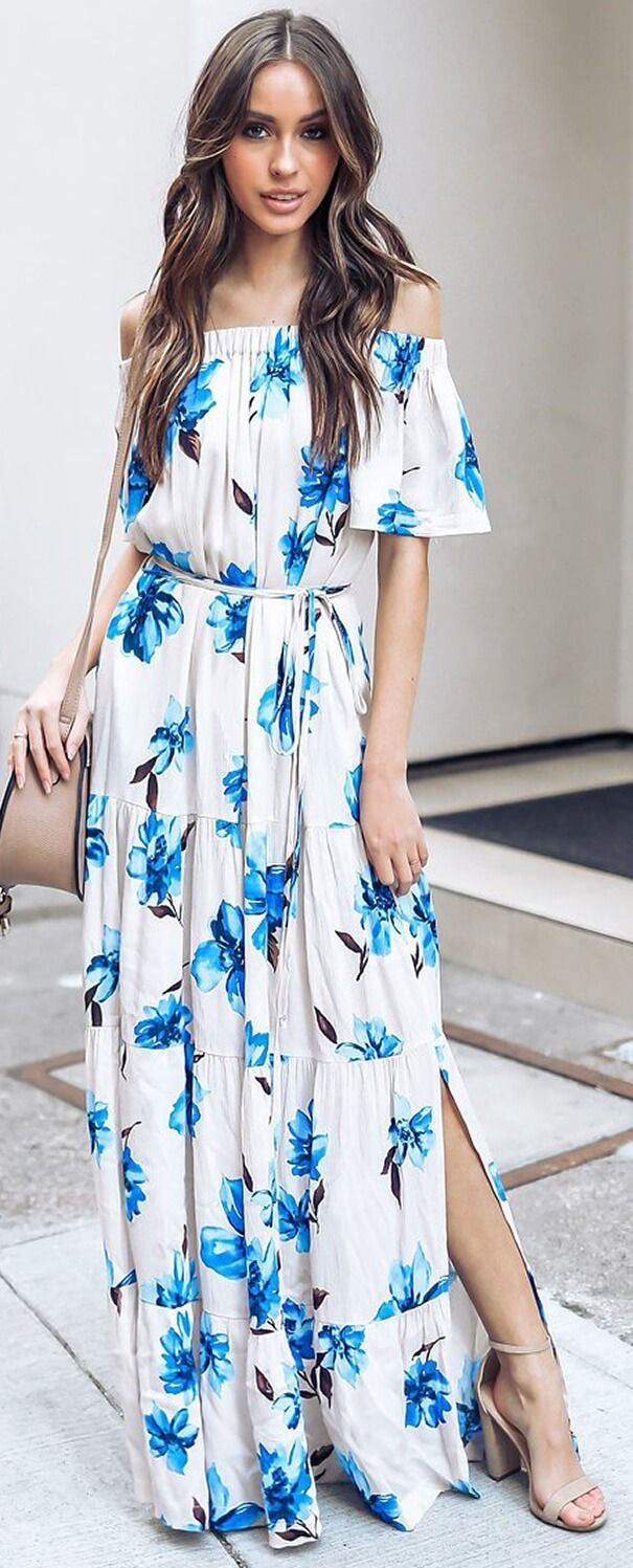 3b6a16f82443 Summer bohemian Floral Slit Maxi Dress. Summer Dresses and Beach fashion.  Modest Spring Dresses and Cute Summer Dresses for Women. Summer casual  dresses.