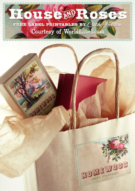 """The Houses and Rose free printbale labels is designed by Cathe Holden of   Justsomethingimade.com. This really beautiful design is inspired by an antique """"Reward of Merit"""" card. Download at http://blog.worldlabel.com/2012/house-and-roses-free-printable-labels.html: Gift Bags, Vintage Labels, Free Download, Cath Holden, Gift Tags, Printables Labels, Free Labels, Vintage Rose, Free Printables"""