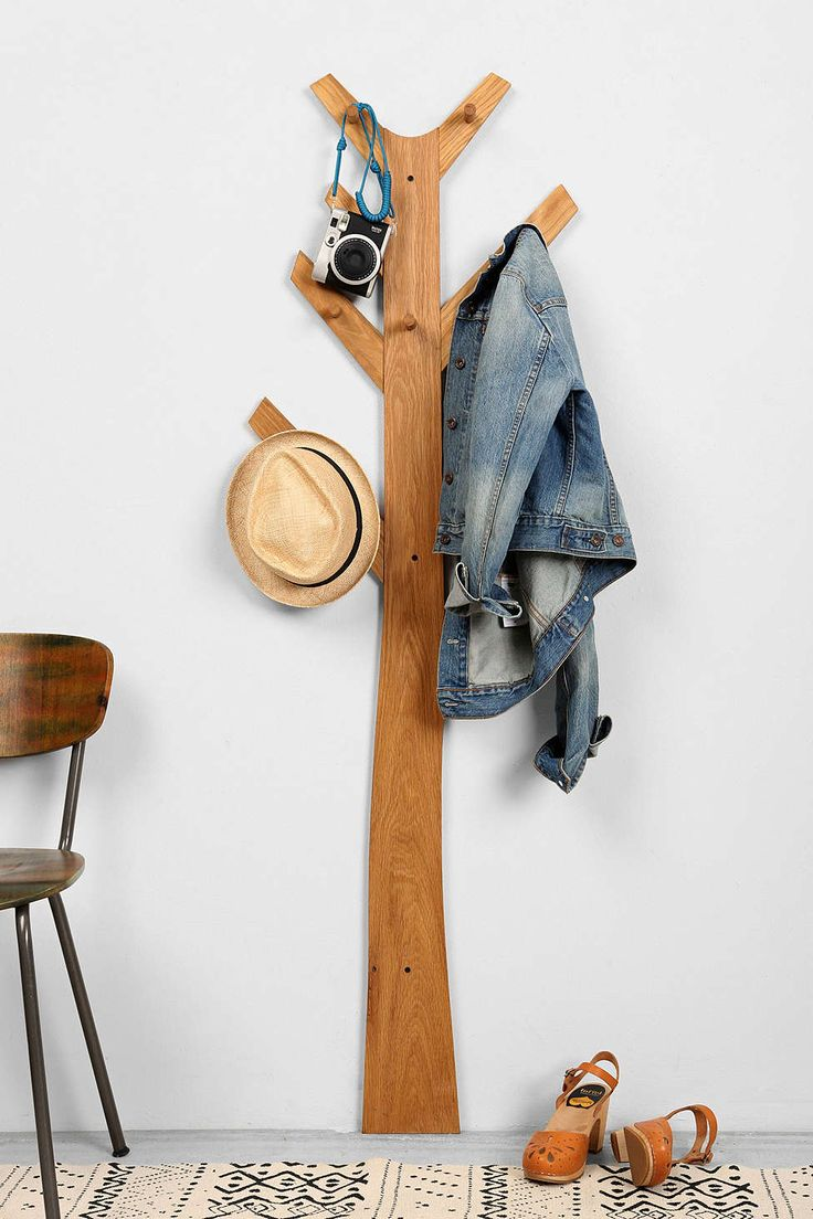 """Tree Clothes Wall Rack.  Length (across): 19.5"""" - Width (from wall): 4.5"""" - Height: 63"""""""