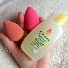 I love my Beauty Blenders but I refuse to pay $20-$25 for the Beauty Blender cleanser. I found a drugstore dupe, Johnson's Head-to-Toe Baby Wash. Works like a charm. The left is my dirty blender and the right is the newly clean one that I washed with Johnson's baby wash (smells fresh too). I also use baby shampoo to wash my makeup brushes. Cheap and very effective.