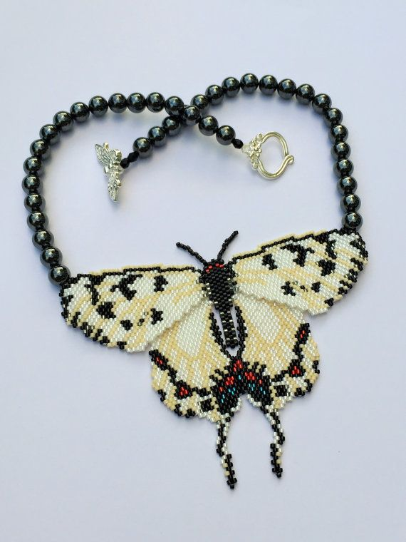White and Black Beaded Butterfly with Haematite by BeadifulByJill