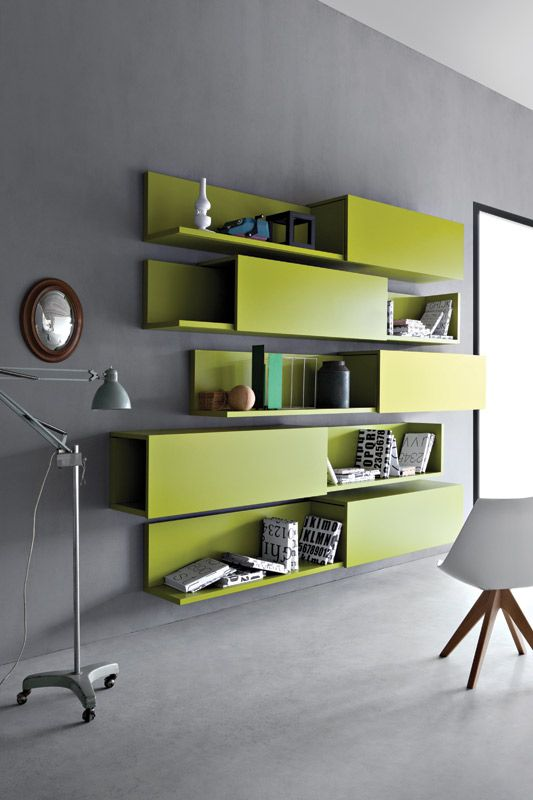 green storage shelves