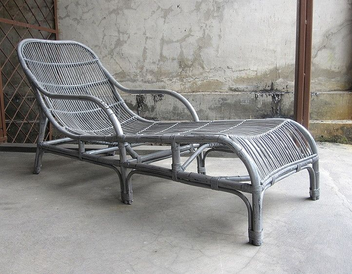 Marunda Sun Lounger With Natural Rattan Stick And Frame