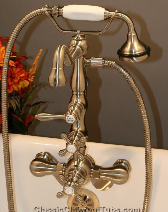 wall mount clawfoot tub faucet handheld shower. Wall  Mounted Thermostatic Faucet with a Handheld Shower Sprayer this is such great look and it s the perfect fixture to accompany claw foot tub 8 best Clawfoot Tub Faucets images on Pinterest Hand