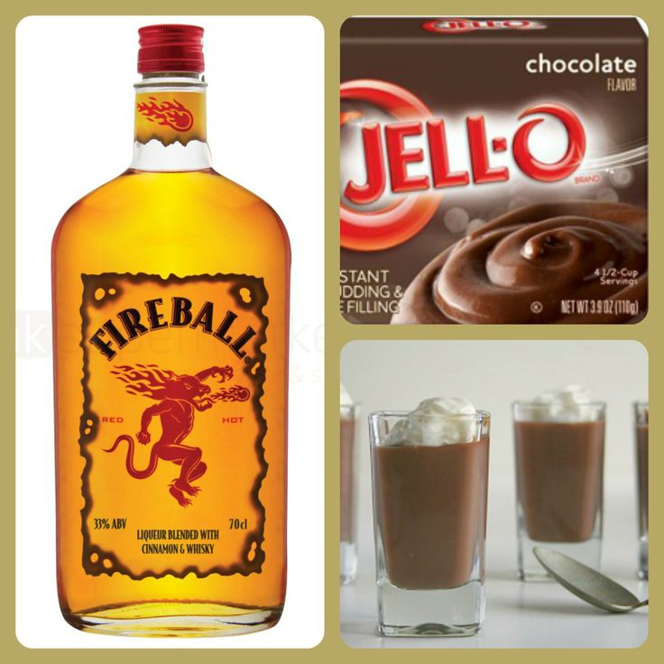 Chocolate Fireball Pudding Shots 1 small Pkg. chocolate pudding (instant, not the cooking kind) ¾ Cup Milk ¾ Cup Fireball Whiskey 8oz tub Cool Whip  Directions 1. Whisk together the milk, liquor, and instant pudding mix in a bowl until combined. 2. Add cool whip a little at a time with whisk. 3. Spoon the pudding mixture into shot glasses, disposable 'party shot' cups or 1 or 2 ounce cups with lids. Place in freezer for at least 2 hours