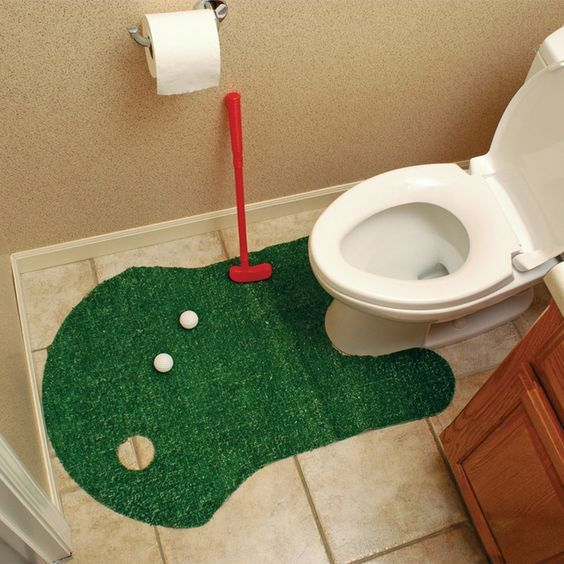 """More fun than reading! The Clubhouse Collection Bathroom Golf Game includes a contoured polyester putting green, plastic putter, two plastic golf balls, and a plastic flag. Makes the perfect gift for your favorite golfer! Materials: Polyester, Plastic. Dimensions: 24"""" L x 12"""" W x 0.5"""" H. Weight: 0.8 lbs >>> More info could be found at the image url. #golfstyle"""