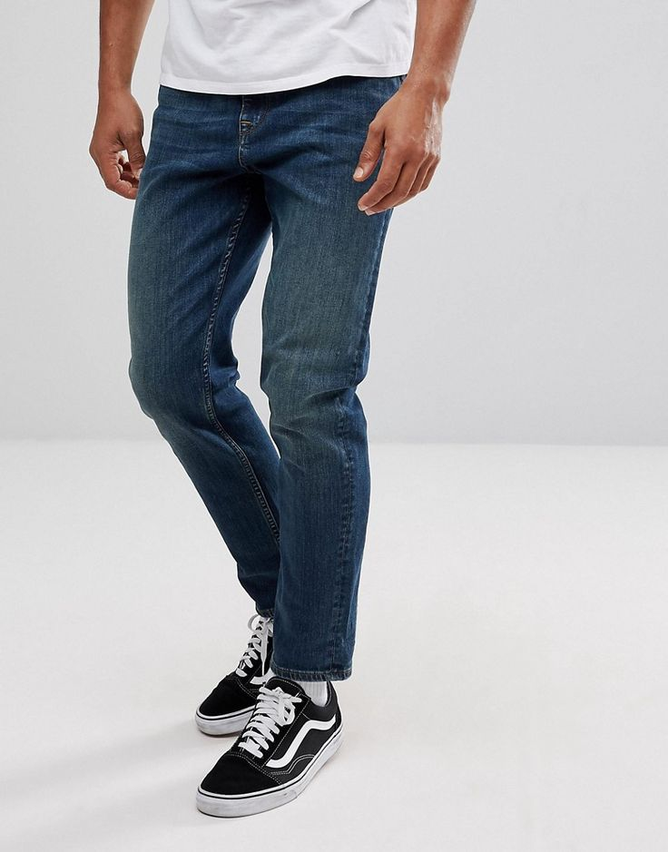 ASOS Tapered Jeans In Dirty Blue Wash - Blue