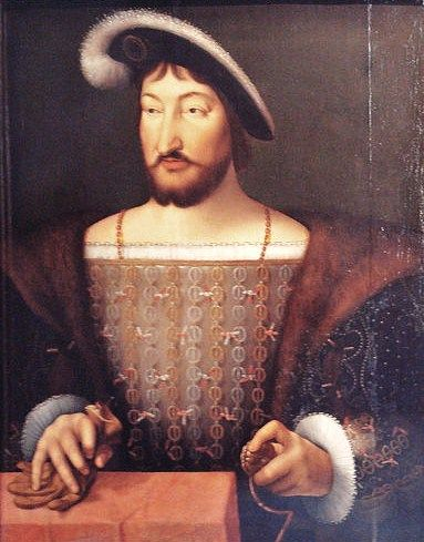 A portrait of Francis I of France (1494-1547). By Joos Van Cleve, circa 1530.