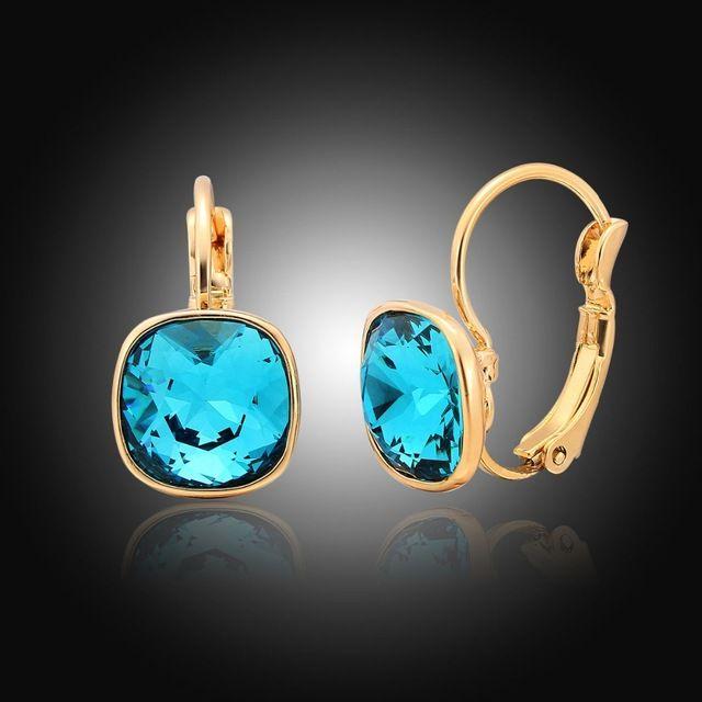 Цвет золота Серьги Хооп Синий Квадрат Кристалл Серьги Моды Блестящие Украшения Для Женщин букле d'oreille