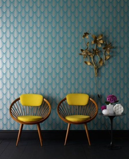 Ornamental Wallpaper In Turquoise + Retro Chairs With BRight Yellow Pillows - Harmonic Contrast Although They Are Strong Colours