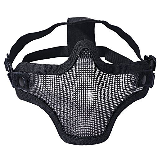 Maille en acier tactique Masques Demi Crâne Masque Visage équipement de protection pour airsoft Masque Halloween, Noir: Amazon.fr: Sports et Loisirs