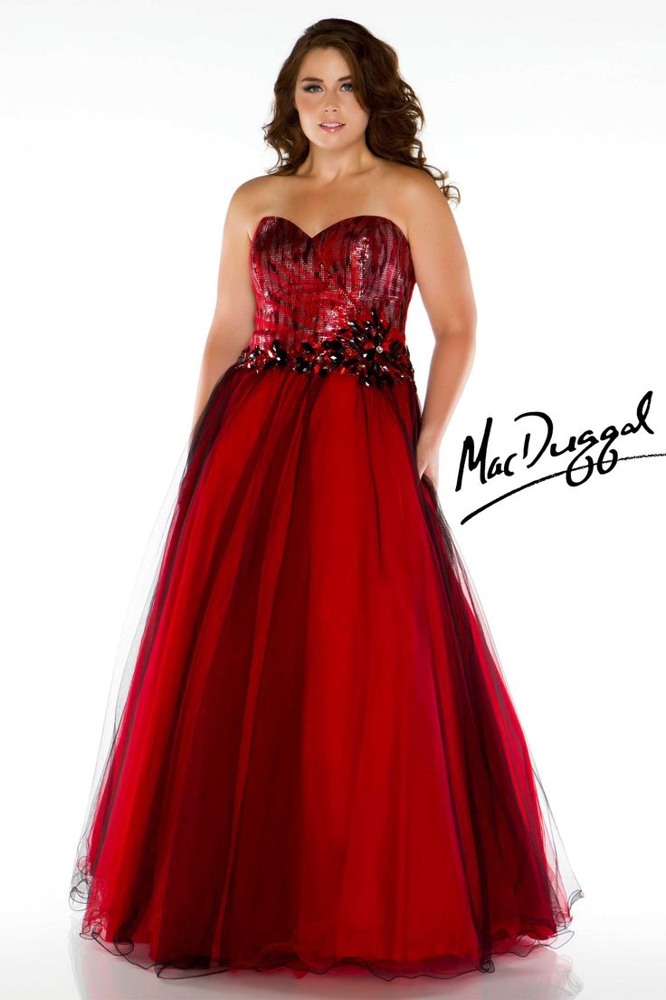 Strapless red plus size prom dress mac duggal grad and for Plus size dresses weddings and proms