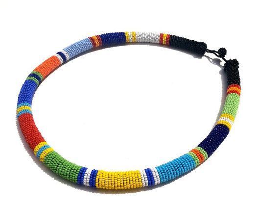 African inspired bead wrapped rope necklace