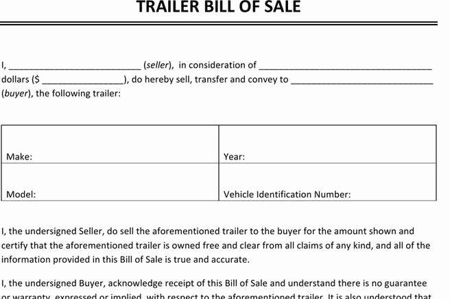 Bill Of Sale Trailer Inspirational Bill Of Sale Form Bill Of Sale Template Job Description Template Templates