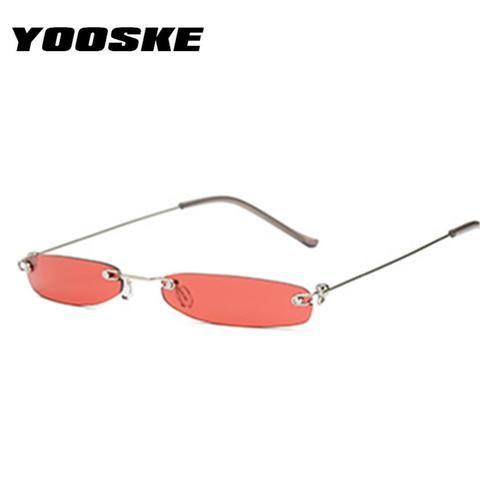 75530548494d YOOSKE Vintage Sunglasses Women Small Narrow Sun Glasses Retro Rectangle  Brand Designer Male Female Rimless Shades Eyewear