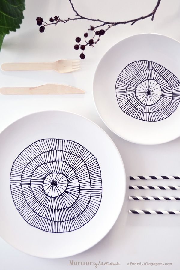 Old porcelain plates painted with porcelain pens