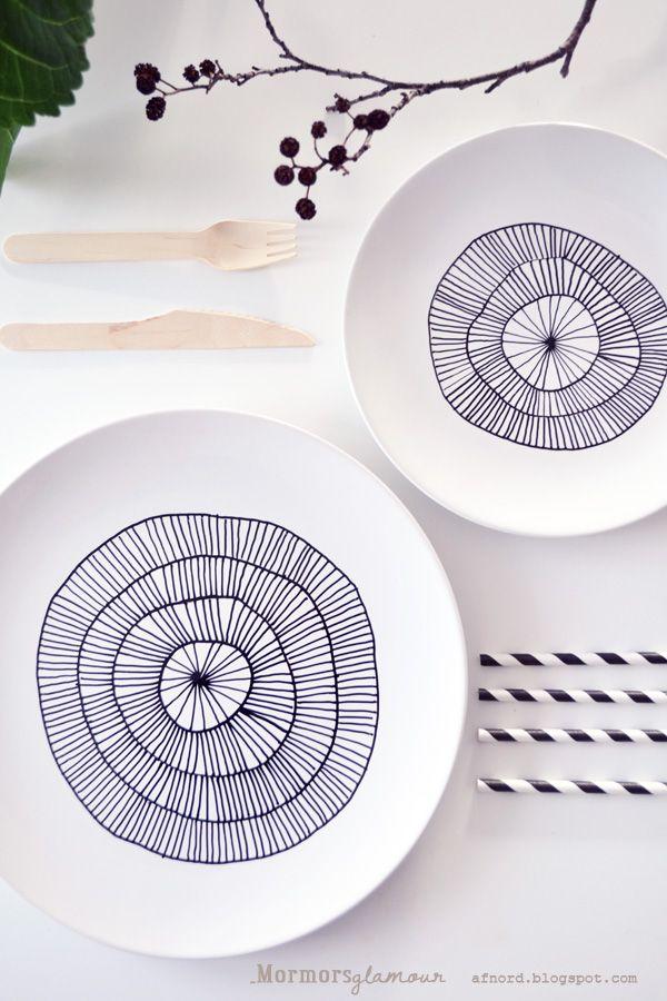 DIY - porcelain pen painted plates
