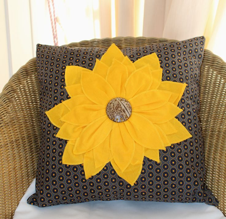 Sunflower cushion, African print cushion, African floral, Sofa, Chair, Bed, Patio, Room Accent, Home decor, Yellow flower, Country pillow by JaxStarHome on Etsy