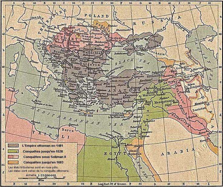 Carte de l'Empire ottoman (ne différencie pas l'Empire lui-même des états vassaux)
