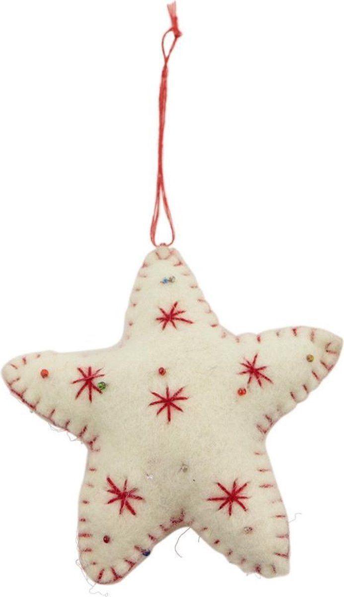 Hanger Kerst Decoratie Vilt Kerst Ster Rood 18x10x3cm Nepal Fairtrade Kerst Vilt Knutselen Zelfgemaakte Kerst Knutselen Kerst