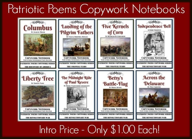 New Titles: Patriotic Poems Copywork Notebooks