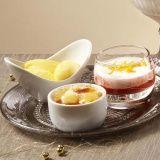 Creme brulee, panna cotta en mangosorbetijs