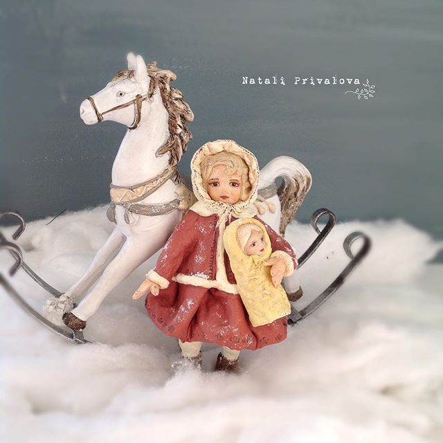 Лизонька с куклой. Ватная девочка. #ретро #винтаж #vintage #ватнаяигрушка #игрушкиизваты #купить #елочнаяигрушка #новыйгод