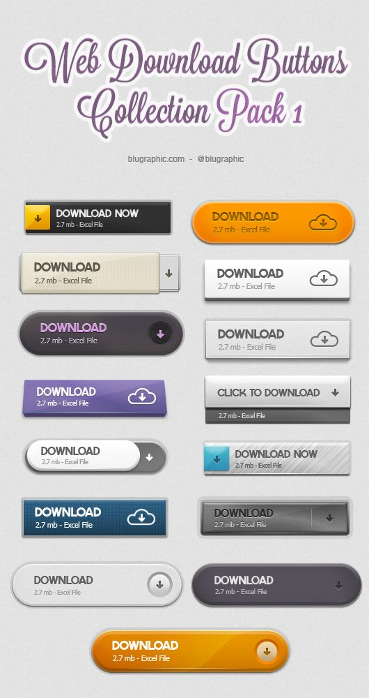 Web Download Psd Buttons Collection – Pack 1