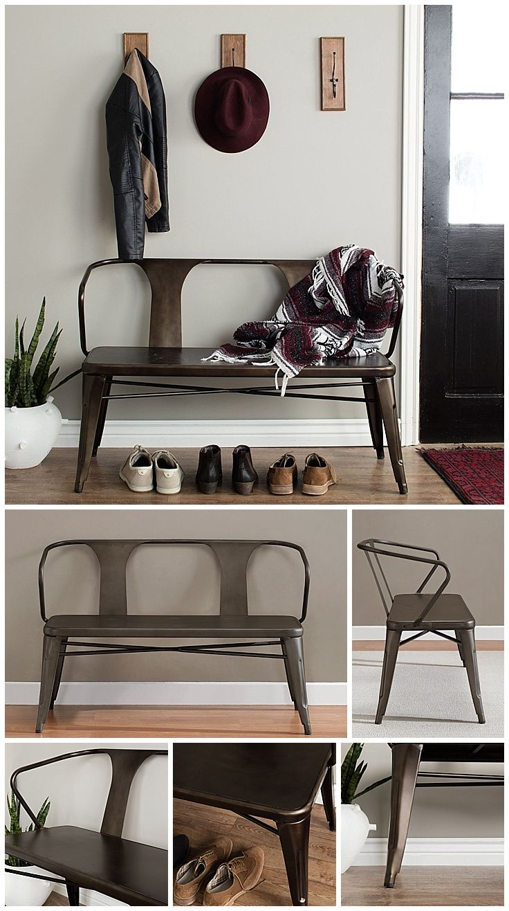 Industrial chic living room - Tabouret Vintage Metal Dining Bench With Back By I Love Living
