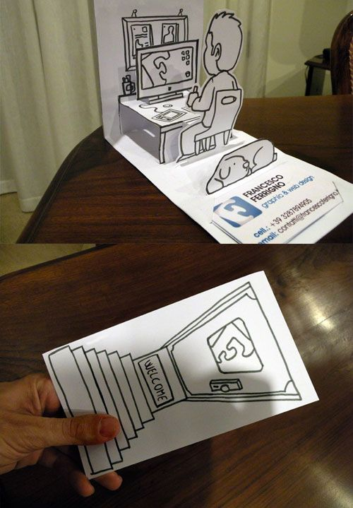 Tarjetas de visita creativas. En 3D